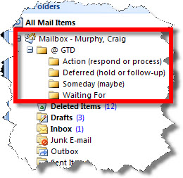 """Elementary GTD using Microsoft Outlook """"move to folder"""