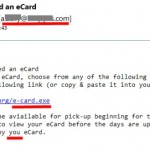eCards linking to dangerous executable files…